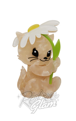 Erstwilder Spring Kitten  with daisy resin Brooch