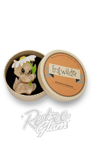 Erstwilder Spring Kitten  with daisy resin Brooch gift box