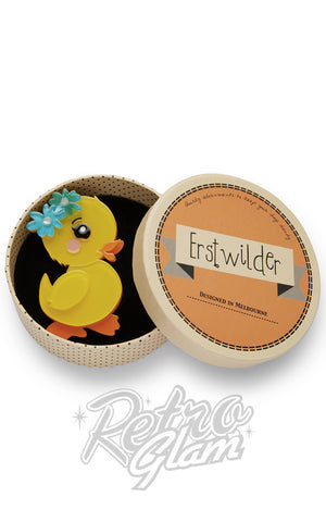 Erstwilder Waddlesworth Jr. duckling resin Brooch gift box