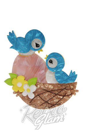 Erstwilder Young Love blue bird in nest with egg resin Brooch