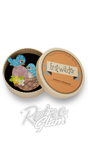 Erstwilder Young Love blue bird in nest with egg resin Brooch gift box