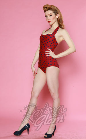 Esther Williams Classic Sheath Swimsuit in Burgundy & Navy Polka Dot