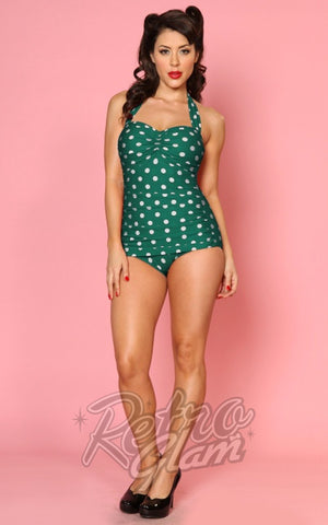 Esther Williams Classic Retro Sheath Swimsuit in Green & White Polka Dot
