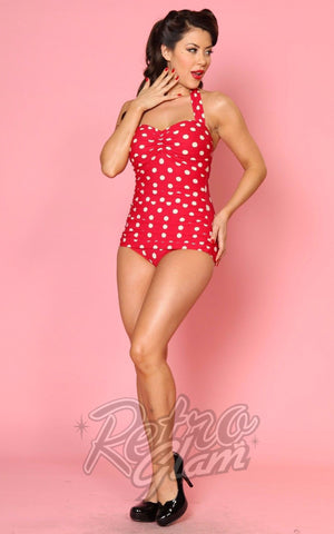 Esther Williams Pin up Classic Sheath Swimsuit in Red & White Polka Dot