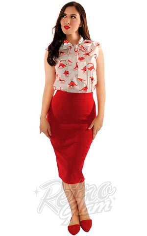 Retrolicious Boss Lady Pencil Skirt in Red