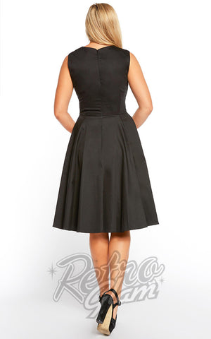 Eva Rose Sweetheart Swing Dress in Black Back