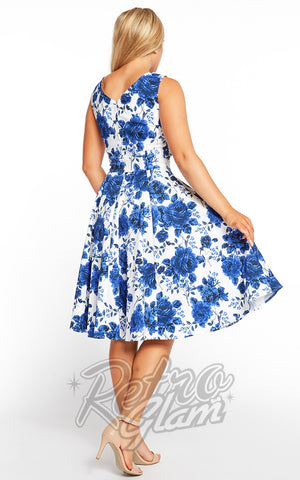 Eva Rose 50s Dress in Blue Floral Back