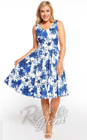 Eva Rose 50s Dress in Blue Floral