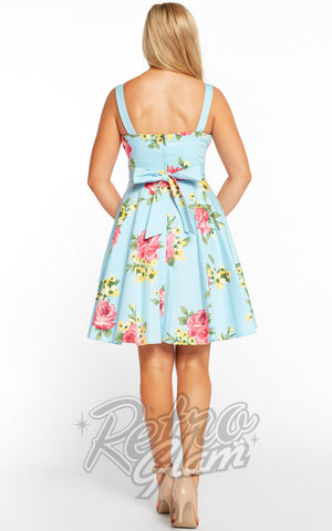 Eva Rose Pin Up Mini Dress in Blue Floral Print Back