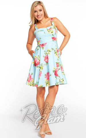 Eva Rose Pin Up Mini Dress in Blue Floral Print