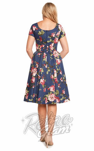 Eva Rose Short Sleeve Flare Dress in Navy Floral back
