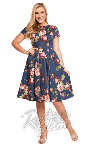 Eva Rose Short Sleeve Flare Dress in Navy Floral