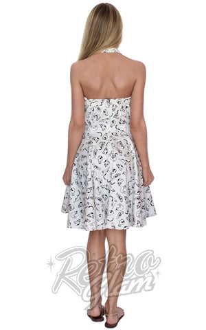 Eva Rose White Pin Up Mini Dress in Cat Print Back