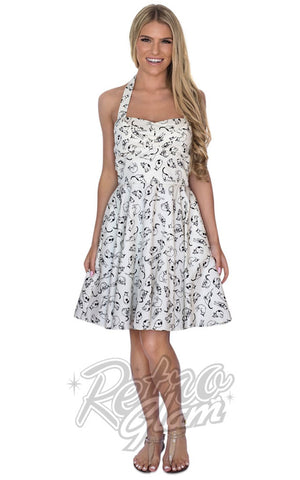 Eva Rose White Pin Up Mini Dress in Cat Print