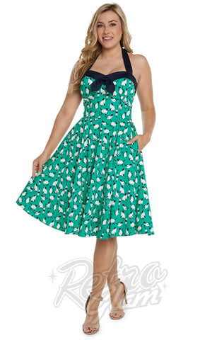 Eva Rose Cat Print Halter Dress in Green