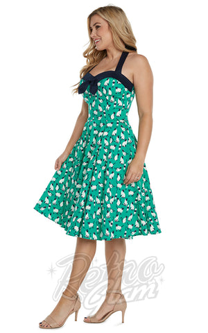 Eva Rose Cat Print Halter Dress in Green side