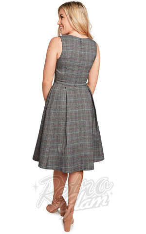 Eva Rose Boat Neck Dress in Dark Grey Plaid back