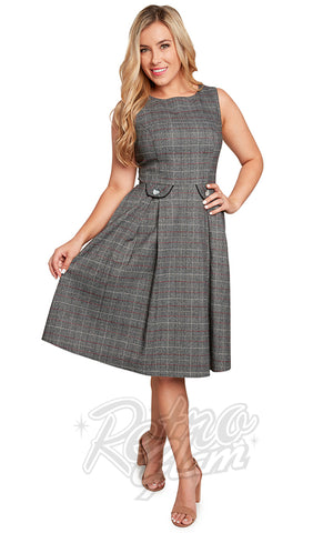 Eva Rose Boat Neck Dress in Dark Grey Plaid
