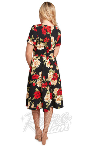 Eva Rose Faux Wrap Black & Red Floral Dress back