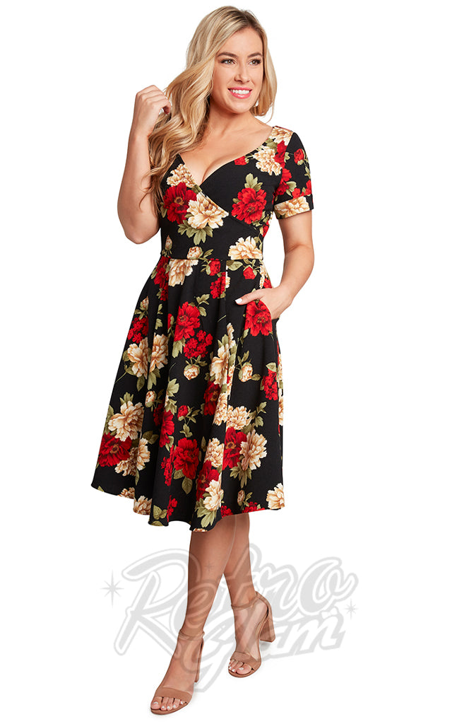 Eva Rose Faux Wrap Black & Red Floral Dress