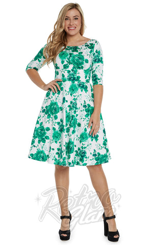 Eva Rose Half Sleeve Jo Dress in Green Floral