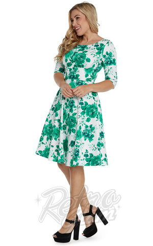 Eva Rose Half Sleeve Jo Dress in Green Floral side