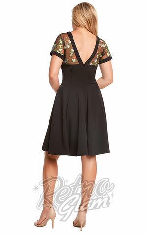 Eva Rose Mesh Embroidered Floral Dress in Black Back