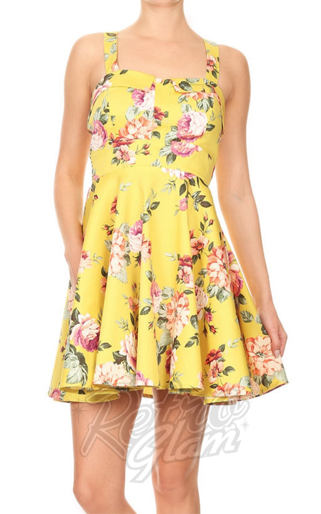 Eva Rose Pin Up Mini Dress in Yellow Floral