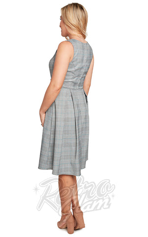 Eva Rose Boat Neck Dress in Light Grey & Teal Plaid back