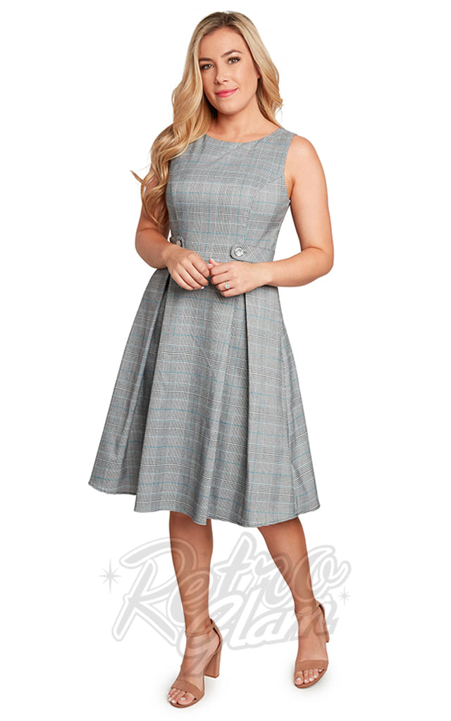 Eva Rose Boat Neck Dress in Light Grey & Teal Plaid