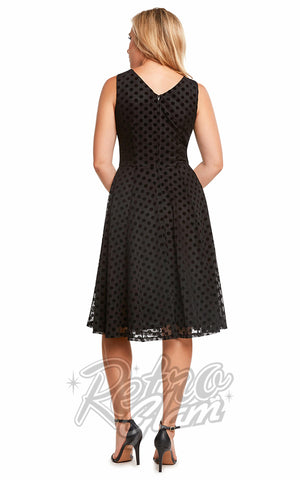 Eva Rose Misses Mesh Dot Dress in Black BACK
