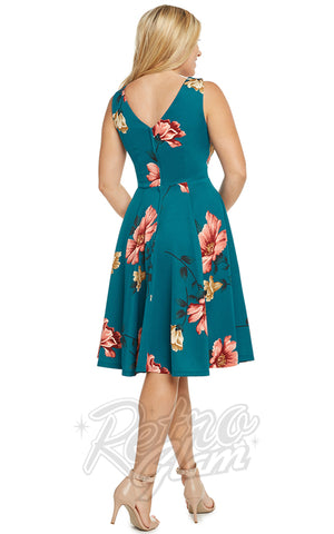 Eva Rose Misses Dress in Teal Floral back
