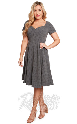 Eva Rose Sweetheart Swing Dress in Grey Pindot