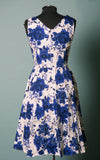 Eva Rose v-neck 50s swing Misses Dress in Blue Floral with pockets