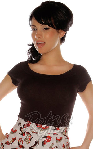 Retrolicious Boat Neck Top in Black