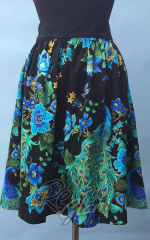 Heart of Haute Gypsy gathered Skirt with elastic band in Peacock Royale Print front