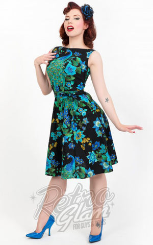 Heart of Haute 60s Monique Dress with a-line skirt in Peacock Royale Print front