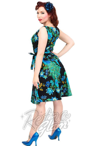 Heart of Haute 60s Monique Dress with a-line skirt in Peacock Royale Print back