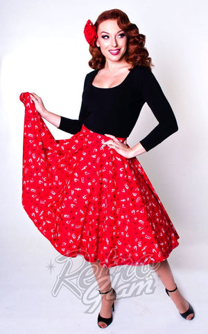 Heart of Haute Red Circle Skirt with White and Black Music Notes