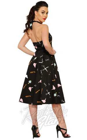 Hearts and Roses Halter Dress in Black Beauty Salon Print Back