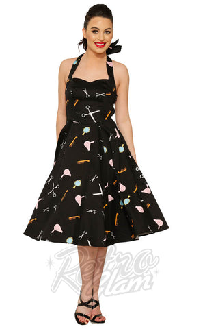 Hearts and Roses Halter Dress in Black Beauty Salon Print