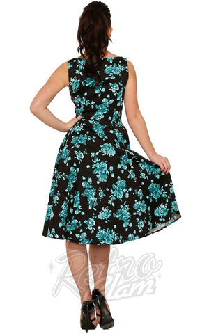 Hearts and Roses Teal China Doll Tea Dress back