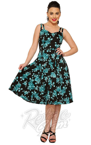 Hearts and Roses Teal China Doll Tea Dress