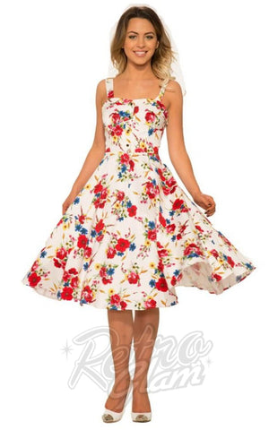 Hearts and Roses Darling Sun Dress in White
