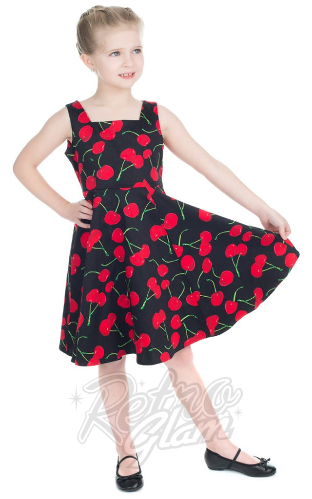 Hearts and Roses Cherry Kids Dress in Black
