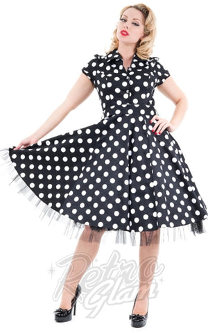 Hearts and Roses Minnie Shirtdress in Black & White Polka Dots