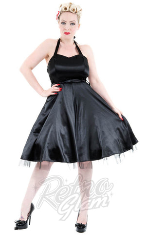 Hearts and Roses Occasion Halter Dress in Black