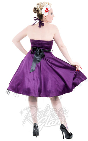 Hearts and Roses Occasion Halter Dress in Purple Back