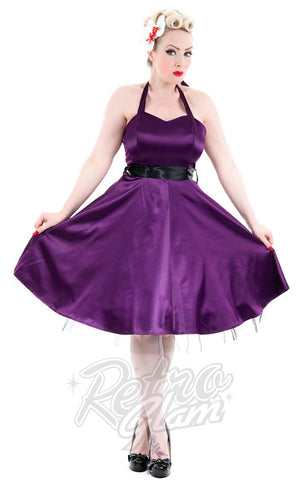 Hearts and Roses Occasion Halter Dress in Purple