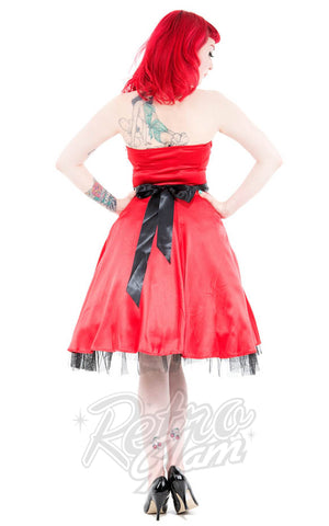 Hearts and Roses Occasion Halter Dress in Red BACK